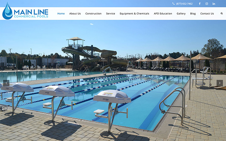 Main Line Commercial Pools Website Design